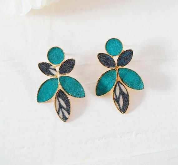 Blue Turquoise Leaves Bohemian Stud Earrings, Large Colorful Statement Earrings