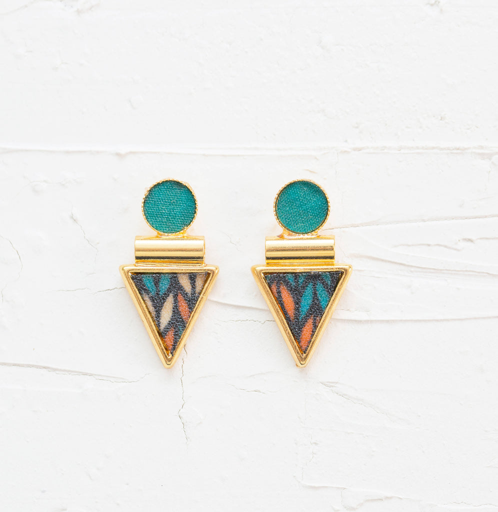 Colorful Stud Earrings, Large Stud Earrings, Bohemian Earrings, Teal Drop Earrings, Boho Earrings, Boho Gold Earrings, Women Large Earrings