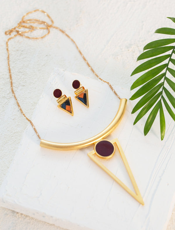 Geometric Necklace Set, Gold Jewelry Set, Statement Necklace, Gold Stud Earrings, Colorful Earrings, Bohemian Jewelry, Women Jewelry Gift