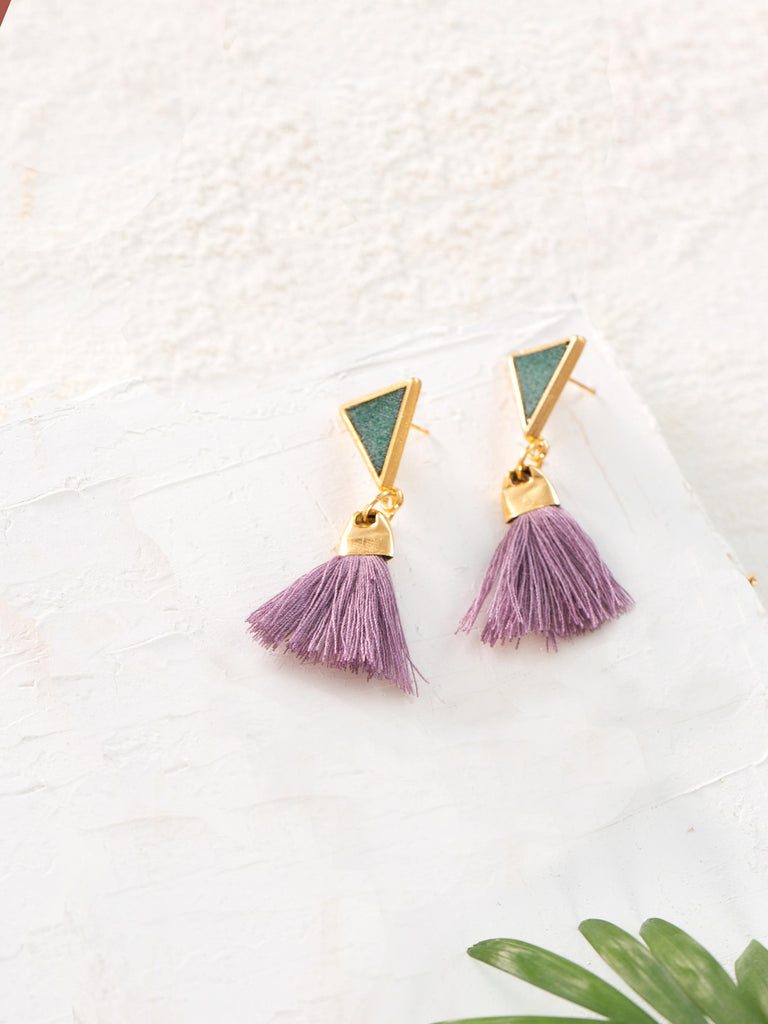 Gold Tassel Earrings, Dangle Earrings, Tassel Drop Earrings, Modern Earrings, Evening Earrings, Purple Earrings, Earrings For Women