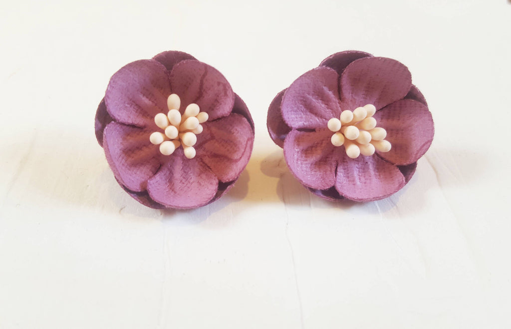 Purple Fabric Earrings, Large Flower Stud Earrings, Unique Hippie Post Earrings