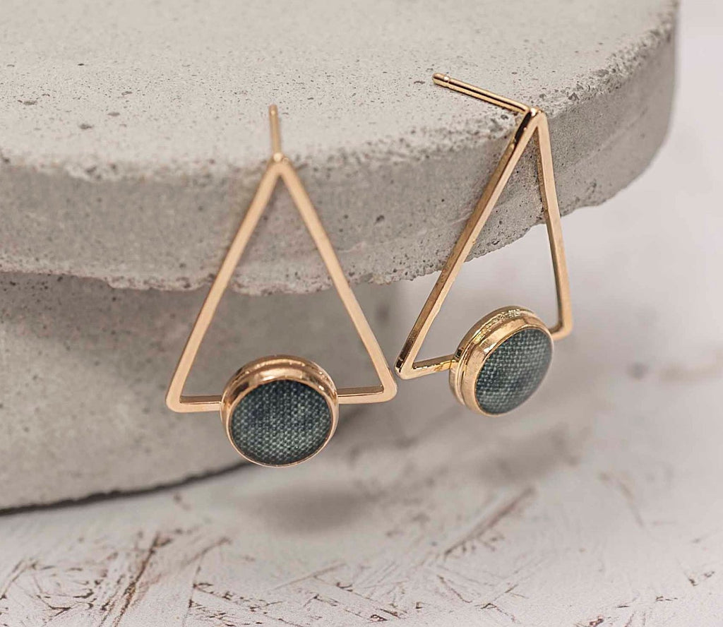 Geometric Earrings, Gold Tribal Earrings, Triangle Stud Earrings, Boho Earrings, Gift For Women, Green Earrings, Fashion Jewelry