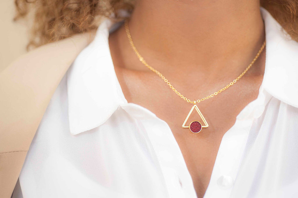 Wine Red 3D Triangle Necklace, Bohemian Gold Unique Jewelry, Hand Made, Short Necklace For Women, Bohemian Jewelry