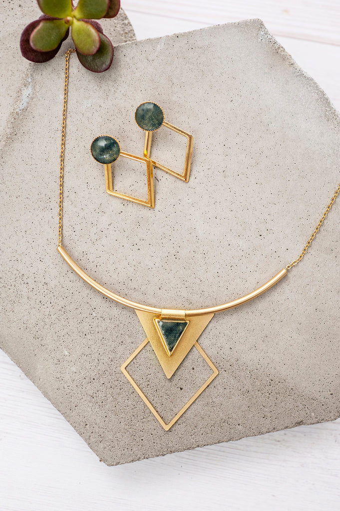 Geometric Earrings And Necklace Set, Gold And Grey Jewelry Set, Diamond Shape Stud Earrings, Triangle Necklace, Bohemian Jewelry