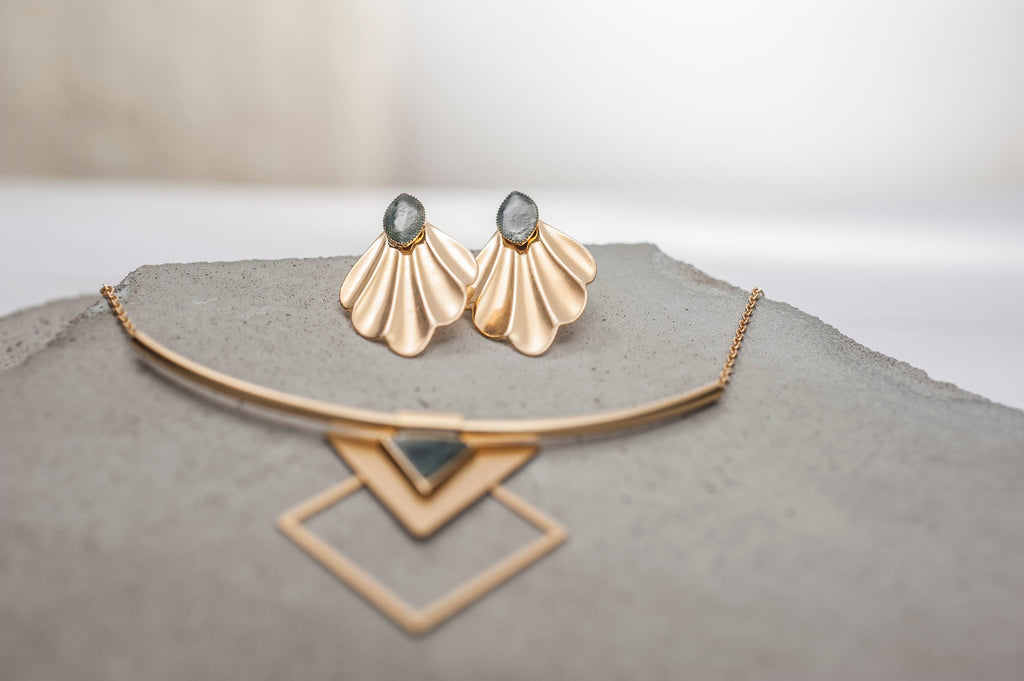Bohemian Jewelry Set, Geometric Gold Jewelry Set, designer jewellery, Stud Peacock Earrings, Statement Triangle Necklace