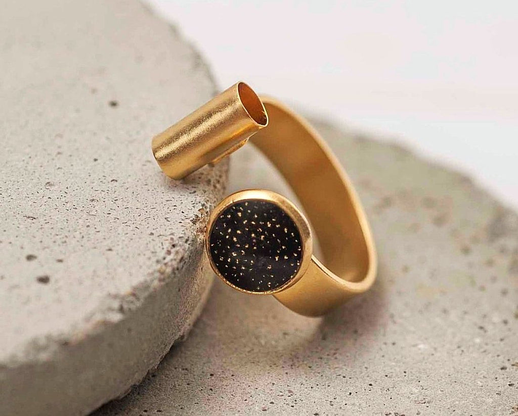 Gold Plated Open Cuff Ring, Adjustable Fashion Ring For Women, Statement Rings, Trendy Women Rings, Bohemian Rings