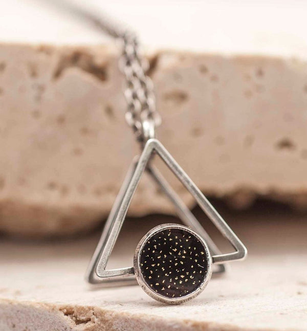 Black And Silver 3D Geometric Pendant Necklace