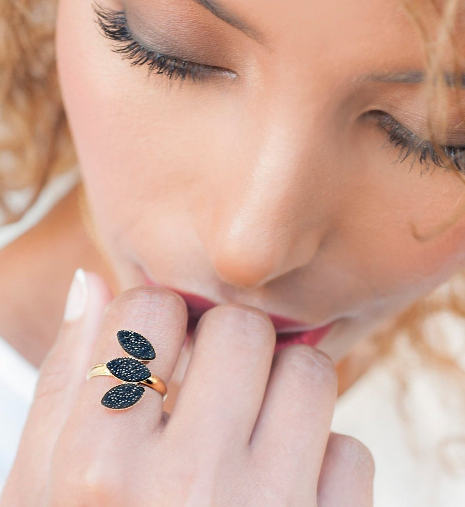Gold Leaf Adjustable Ring, Black Dainty Rings For Women, High Fashion