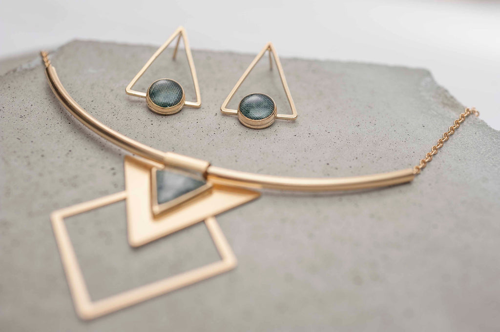 Geometric Earrings And Necklace Set, Gold And Grey Jewelry Set, Triangle Stud Earrings, Bohemian Jewelry, High Fashion For Women