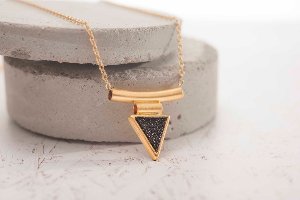 Black Triangle Pendant Necklace, Geometric Gold Jewelry, Long Gold Necklace, Women Stylish Necklaces, Boho Necklace