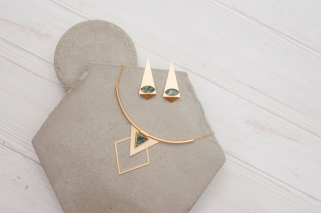 Geometric Jewelry Set, Gold And Grey Necklace Set, Origami Large Stud Earrings, Statement Triangle Necklace, Boho Jewelry, Trendy Fashion