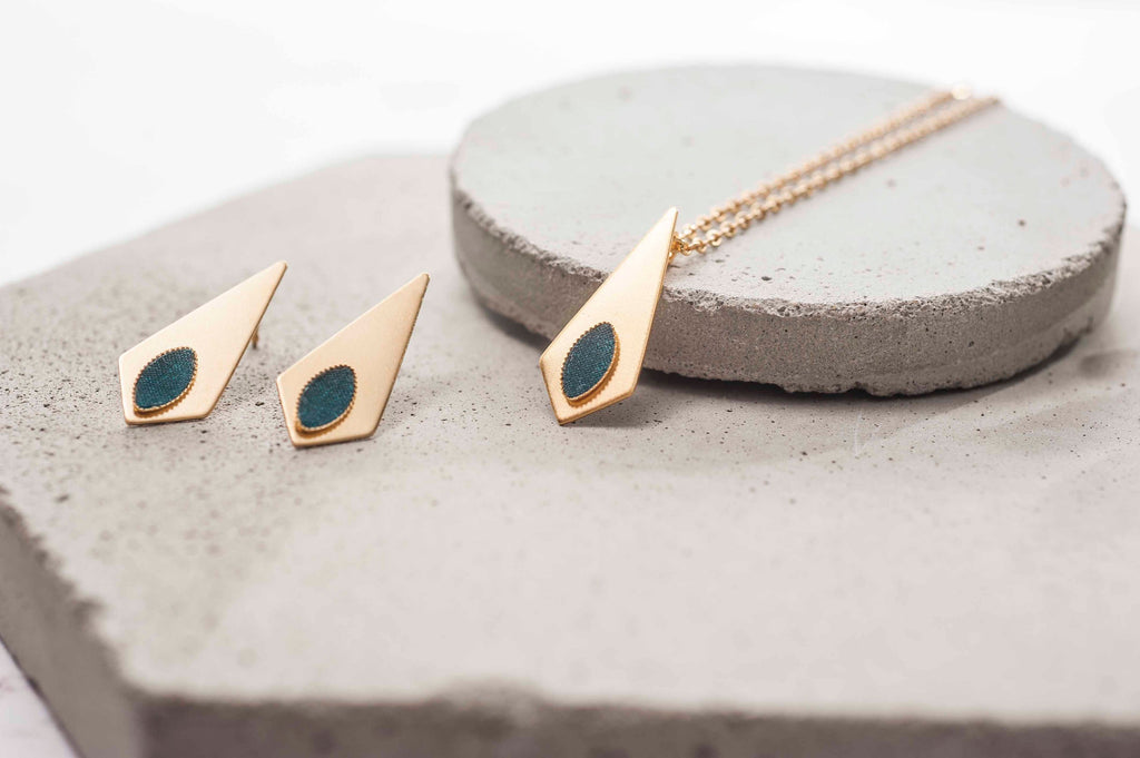 Geometric Earrings And Necklace Set, Gold Jewelry Set, Teal  Earrings, Kite Stud Earrings, Bohemian Earrings, Minimalist Necklace