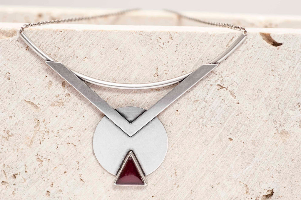 Trendy Silver Necklace, Geometric Statement Necklace, Red Tribal Pendant Necklace, Boho Fashion Necklaces, Necklaces For Women