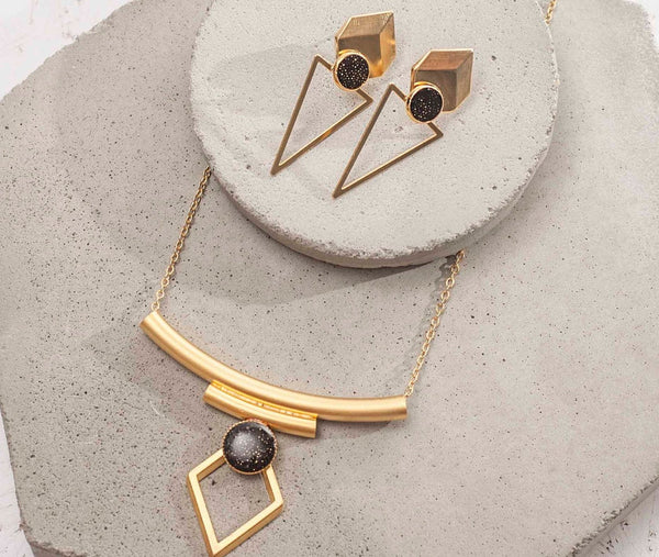 Black And Gold Jewellery Set, Geometric Necklace Set, Statement Gold Stud Earrings, Tribal Necklace, Designer Earrings, Gift For Her