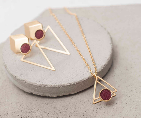 Bohemian Jewelry For Women, Gold Plated Jewellery Set, 3D Short Necklace, Unique Geometric Earrings, Earrings For Women, Red Jewelry