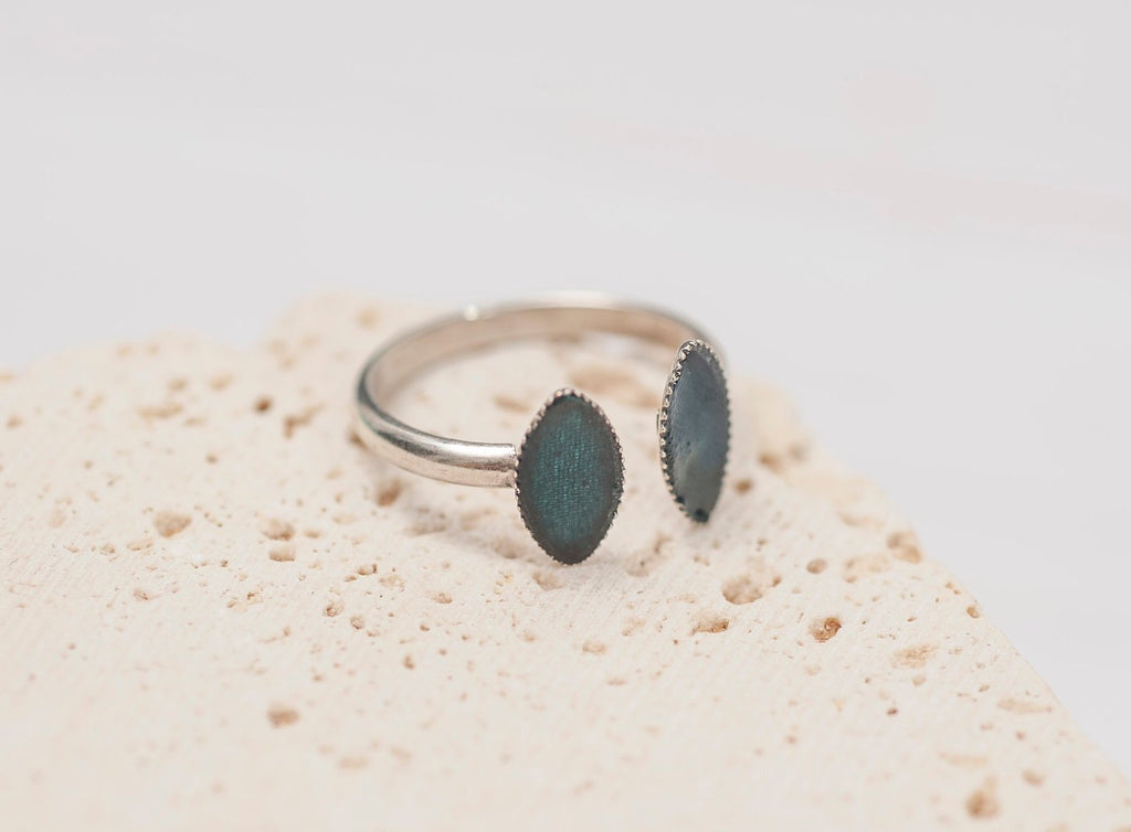 Open Silver Ring, Teal Trendy Double Balls Adjustable Silver Rings