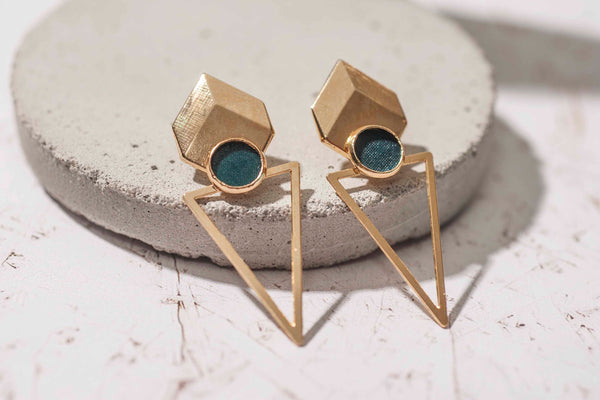 Bohemian Gold Earrings, Large Stud Earrings, Triangle Women Fashion Earrings, Long Tribal Earrings, Grey Earrings, Gold Plated Earrings