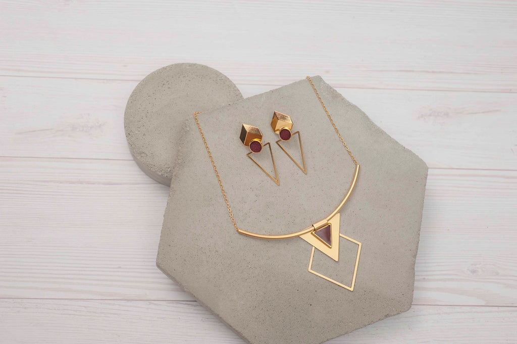 Gold Boho Jewelry Set, Red Necklace Sets, Statement Jewelry Set, Trendy Necklaces, Long Stud Earrings, Tribal Necklace, Gift For Her
