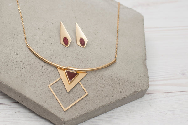 Vintage Gold Jewelry Set, Red Necklace Sets, Statement Jewelry Set, Long Stud Earrings, Tribal Necklace, Geometric Jewelry, Gift For Her