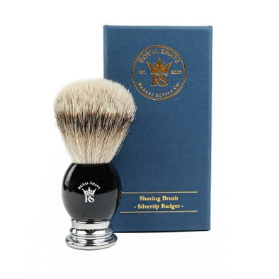 Royal Shave PB8 Silvertip Badger Shaving Brush - Black/ Chrome