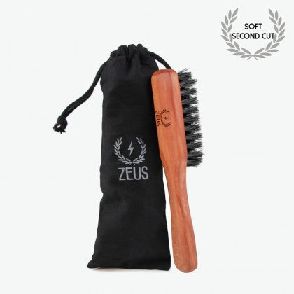 Zeus Pear Wood 100% First Cut Boar Bristle Mustache & Beard Brush with Handle - Soft