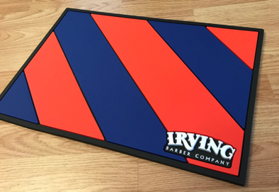 Irving Barber Station Mat - Blue & Red Stripes