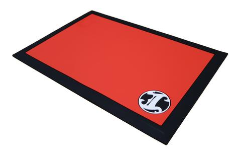 Irving Barber Station Mat Tapered - Red w/ Black Border