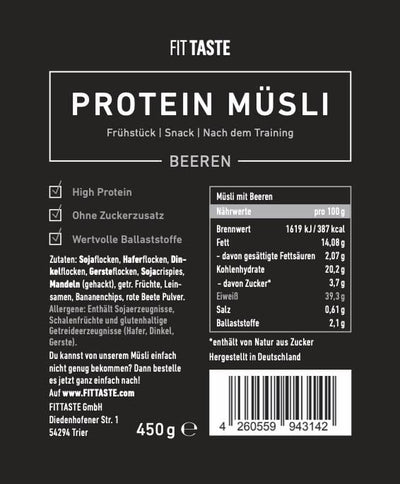 FITTASTE High Protein Müsli 450g
