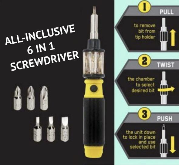 6-in-1 Screwdriver Set Replaceable Screw Bits