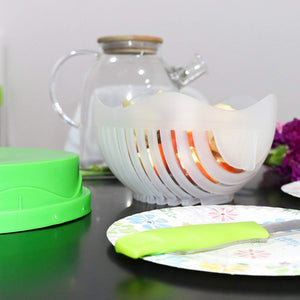 Salad Cutter Bowl | 3-in-1 Kitchen Tool to Cut Slice Fresh Vegetables and Fruit Easy | Chop Your Salad, Not Your Fingers!
