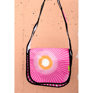Recycled Banner Pink Messenger Bag