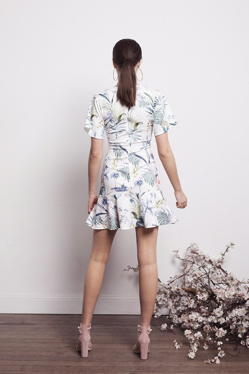 SOCIAL WHT FLORAL MINI DRESS