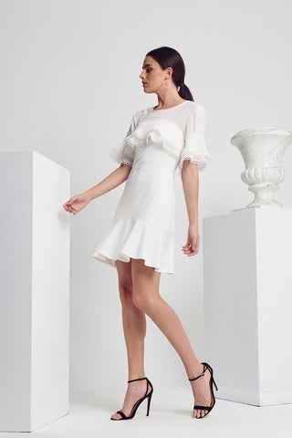 CLASS PLEAT-TRIM S/SLV DRESS