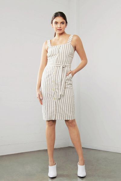 ENCHANT LINEN STRIPE DRESS