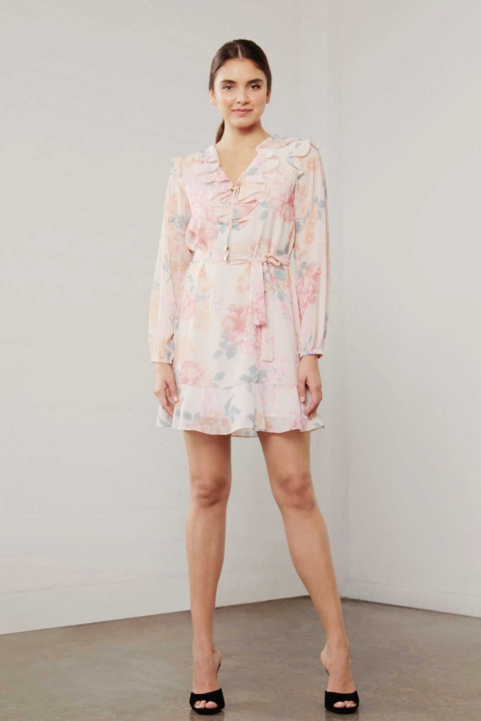 UTOPIA PEACH FLORA RUFFLE DRESS