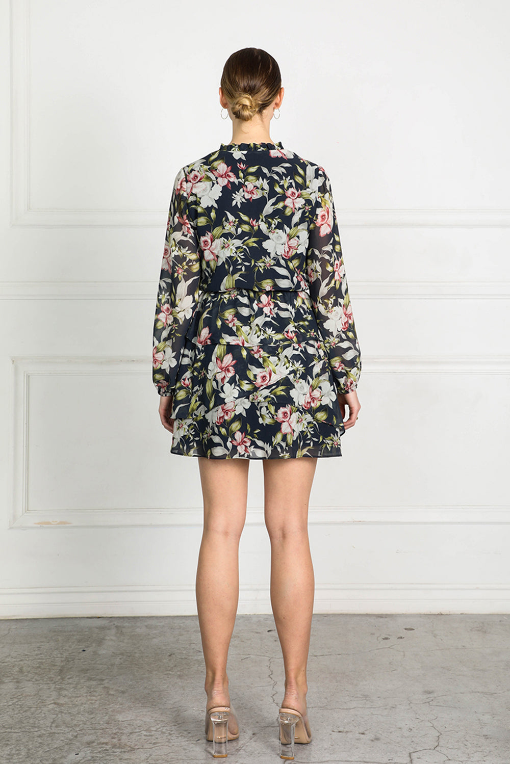 OBTAIN INK FLORAL TIERED DRESS