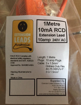1 metre Orange  240V 10A (Medical Grade 10mA RCD KPPR-10-B1) Extension Lead
