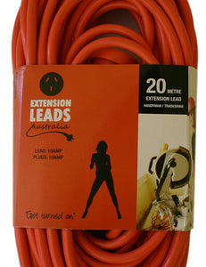 20 metre Orange Heavy Duty 240V Extension Lead