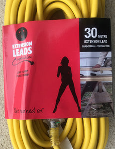 30 metre Yellow Heavy Duty 240V Extension Lead