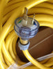 40 meter Yellow 20amp Lead with 15amp plugs Heavy Duty 240V Extension Lead CONTRACTOR
