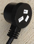 2 metre IEC Black Piggy Back type plug to IEC  Heavy Duty 240V Extension Lead