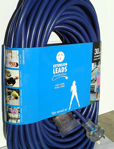 30 metre Blue 20amp Lead 15amp plugs Ordinary Duty 240V Extension Lead CONTRACTOR