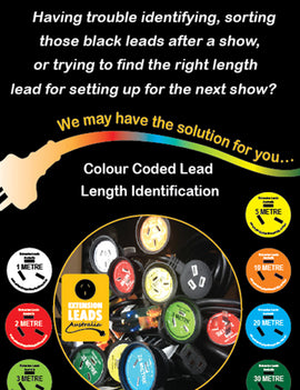 1 Metre colour coded WHITE self adheasive Lead length Identification   Label for Extension Leads used in the entertainment industry