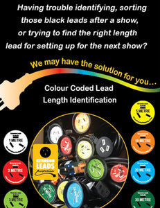 10 Metre colour coded Orange self adheasive Identification  Label for Extension Leads used in the entertainment industry