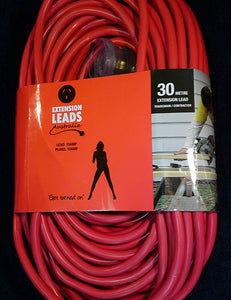 30 metre Red Heavy Duty 240V Extension Lead
