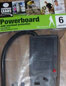 Black Power Board 6 x 10amp outlets with Overload protection
