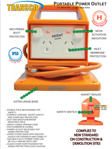 Transco PPO RCD Protected Portable Power Outlet (10240v ) Class H Approved A must for Industrial and construction sites.
