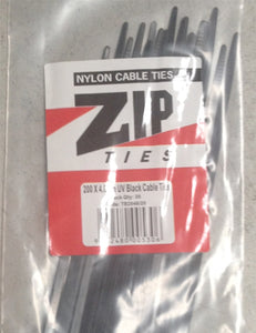 Zip Tie (Cable Tie)  Black 200x4.8mm, Pack Qty 100 (TB2048/100)