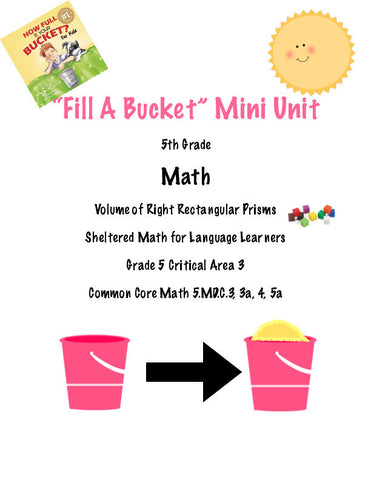 Fill A Bucket 5th Grade Volume of Prisms