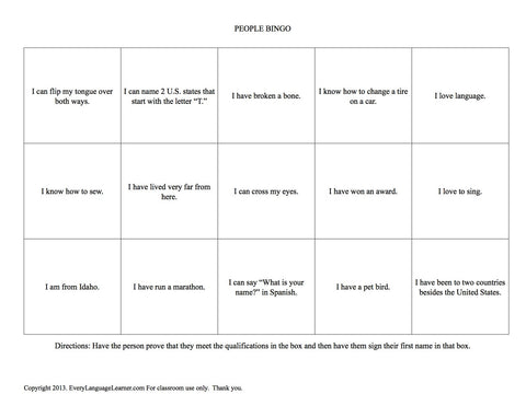 People Bingo - Bilingual Spanish English